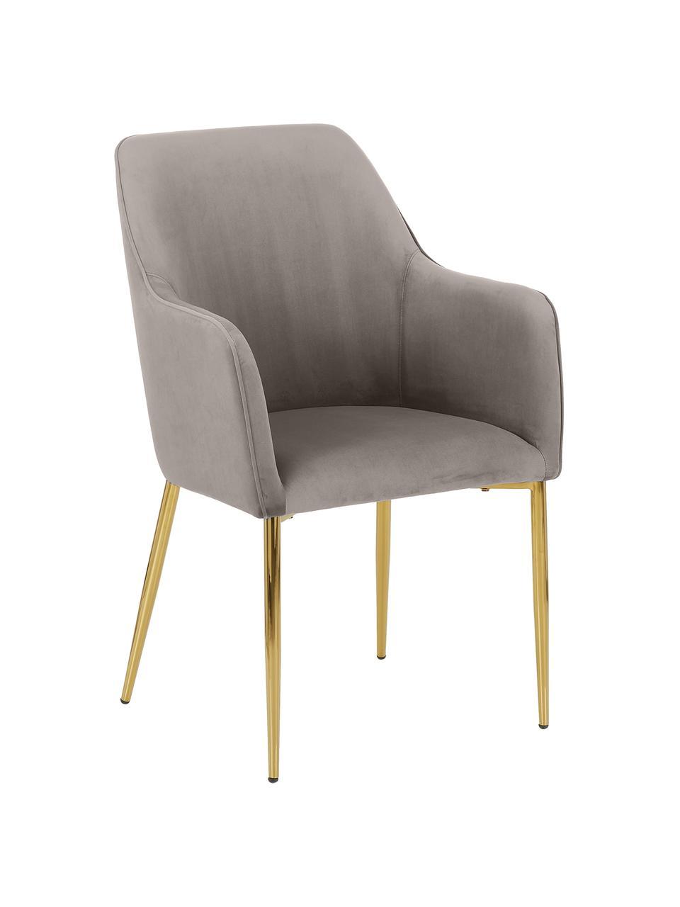 Samt-Armlehnstuhl Ava in Taupe, Bezug: Samt (100% Polyester) Der, Beine: Metall, galvanisiert, Samt Taupe, B 57 x T 63 cm