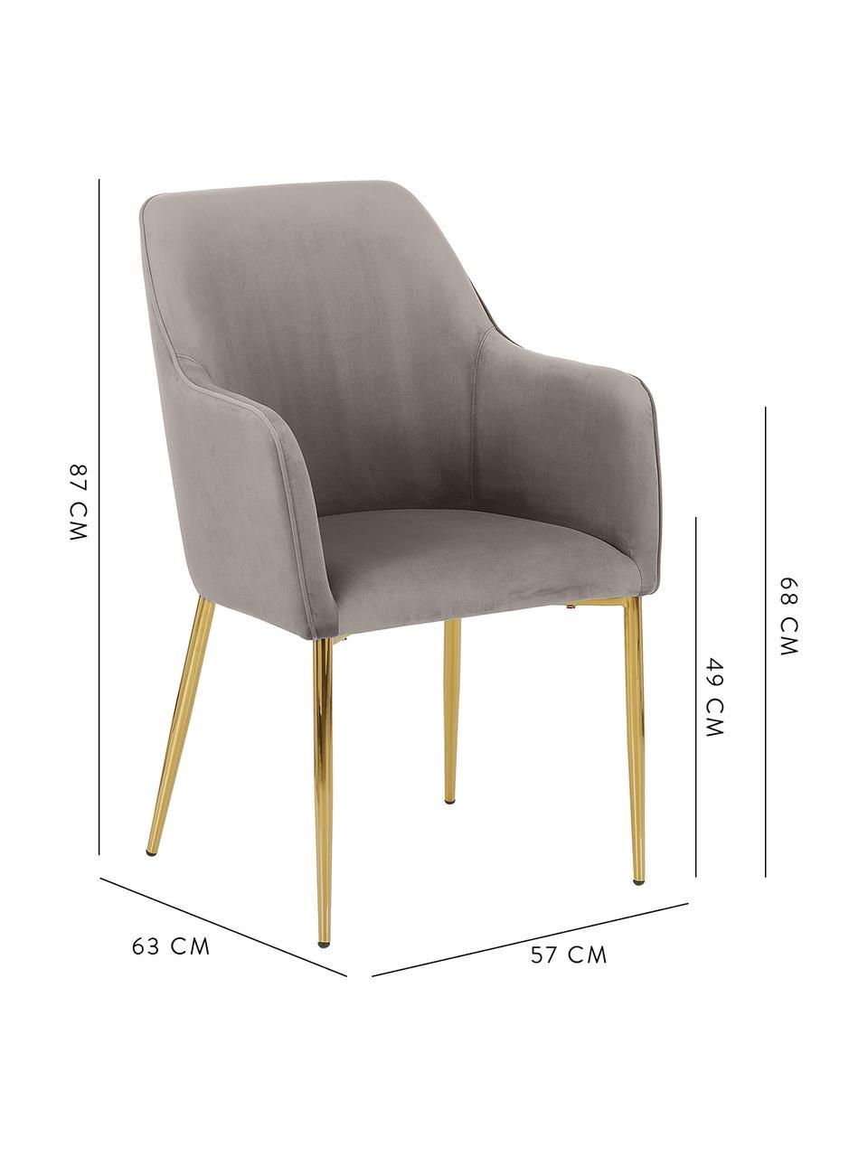 Chaise en velours taupe pieds dorés Ava, Taupe