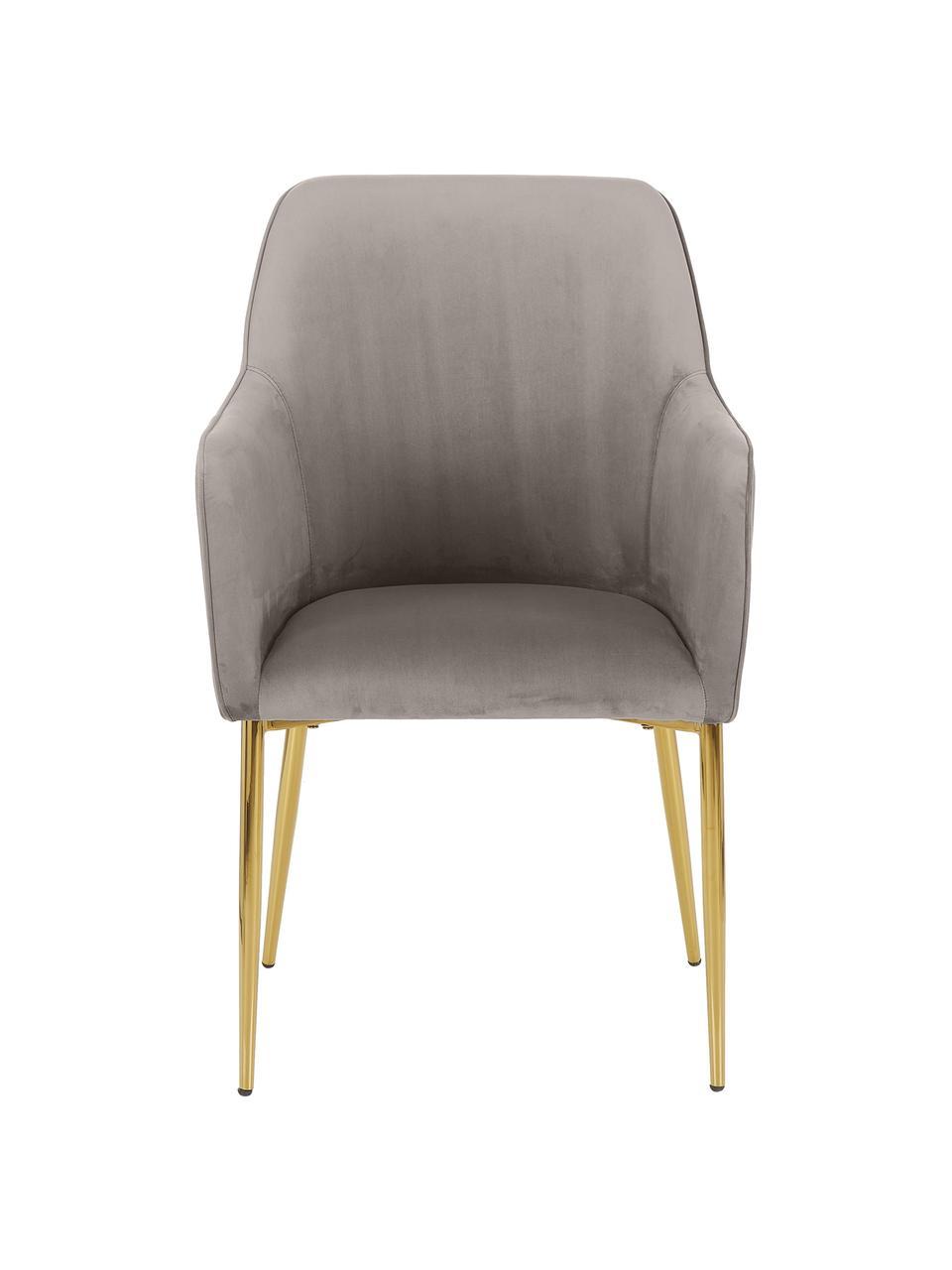Krzesło z podłokietnikami  z aksamitu Ava, Tapicerka: aksamit (100% poliester) , Nogi: metal galwanizowany, Aksamitny taupe, S 57 x G 63 cm