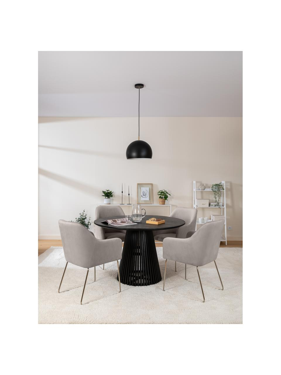 Sedia in velluto taupe Ava, Rivestimento: velluto (100% poliestere), Gambe: metallo zincato, Velluto taupe, gambe oro, Larg. 57 x Prof. 63 cm