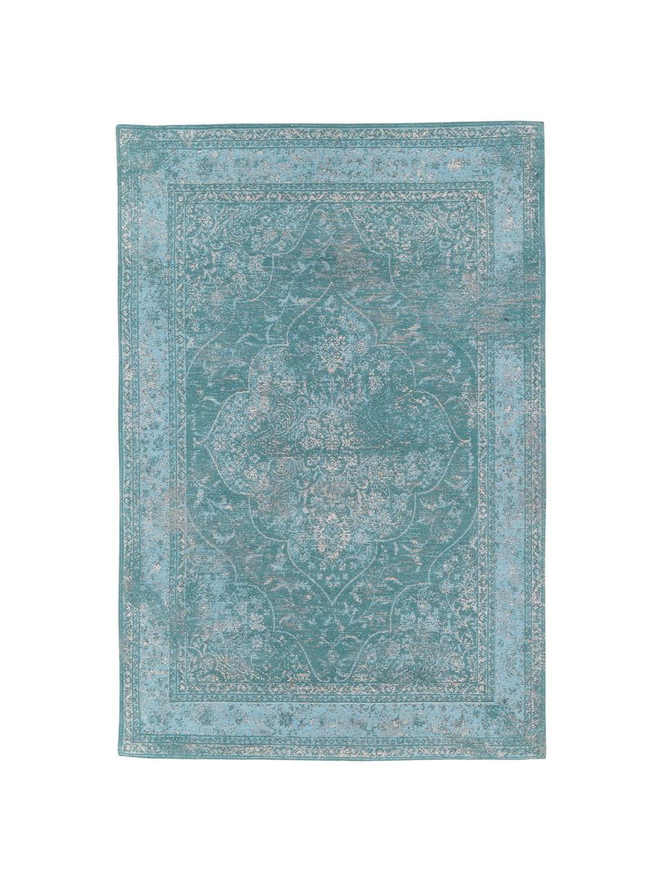 Tappeto vintage in ciniglia turchese Palermo, Retro: 100% cotone, Turchese, azzurro, crema, Larg. 160 x Lung. 230 cm (taglia M)