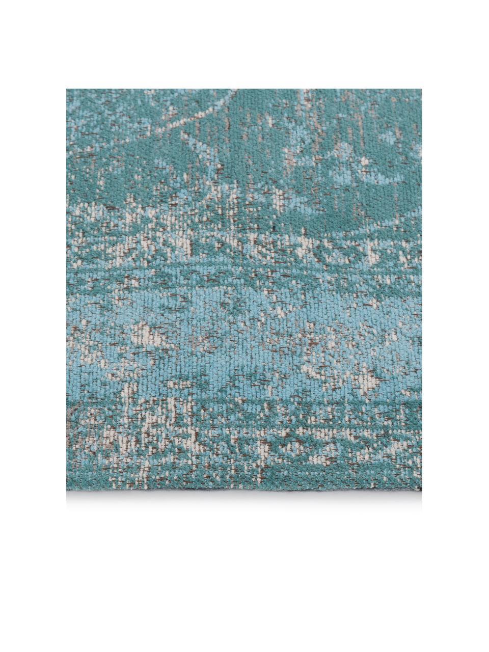 Vintage Chenilleteppich Palermo in Türkis, Flor: 95% Baumwolle, 5% Polyest, Türkis, Hellblau, Creme, B 160 x L 230 cm (Größe M)