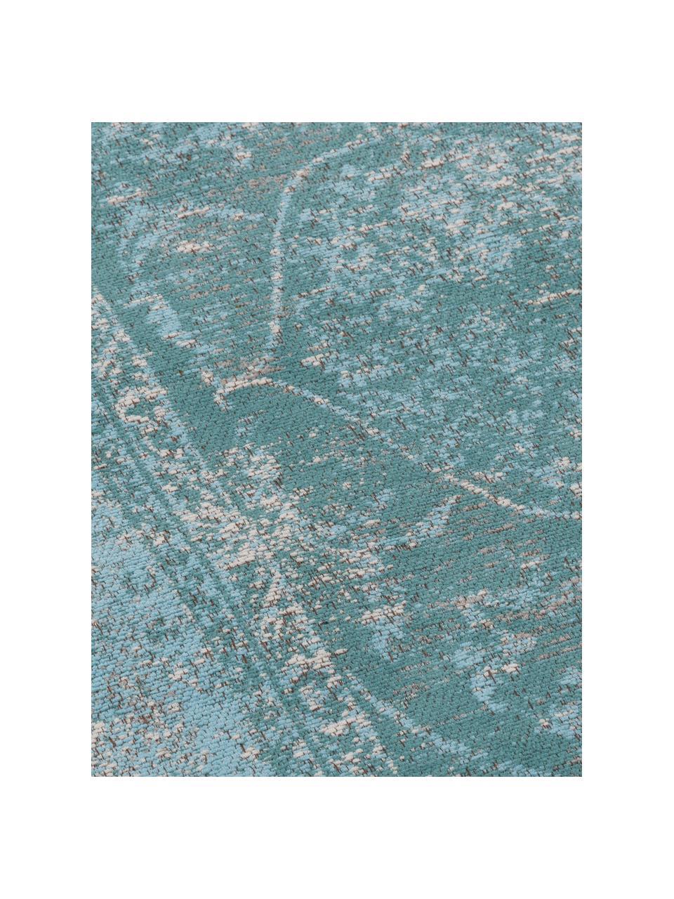 Alfombra artesanal de chenilla Palermo, estilo vintage, Parte superior: 95%algodón, 5%poliéster, Reverso: 100%algodón, Turquesa, azul claro, crema, An 160 x L 230 cm(Tamaño M)