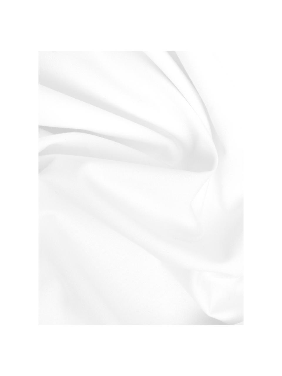 Set lenzuola in percalle bianco Elsie, Bianco, 240 x 300 cm + 2 cuscini 50 x 80 cm