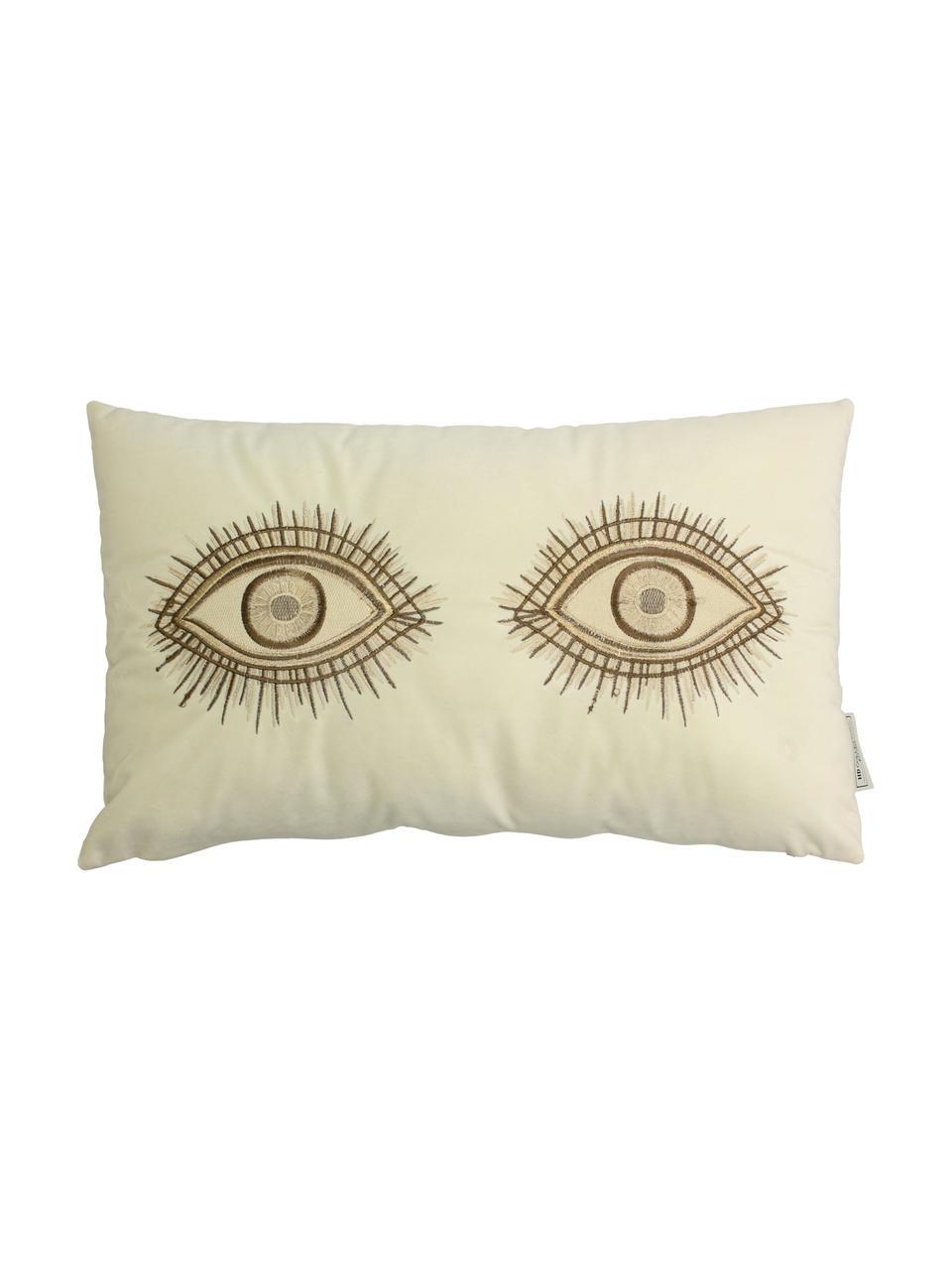 Haftowana poduszka z aksamitu z wypełnieniem Eyes, 100% aksamit, Kość słoniowa, brązowy, S 30 x D 50 cm