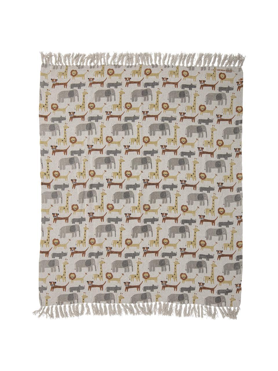 Baby-Plaid Brett mit Fransen, 52% recycelte Baumwolle, 32% Polyester, 10% Acryl, 6% Rayon, Braun, 80 x 100 cm