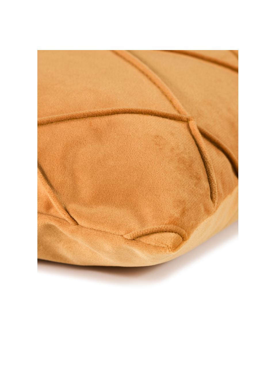 Federa arredo in velluto con motivo a rombi Nobless, 100% velluto di poliestere, Giallo, Larg. 40 x Lung. 40 cm