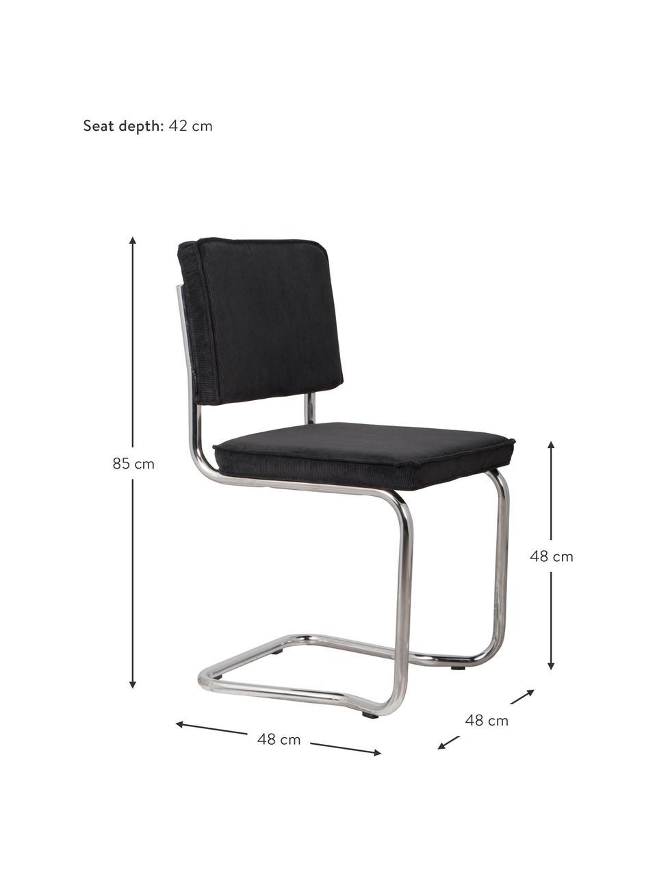 Kordsamt-Freischwinger Kink, Bezug: Kordsamt (88% Nylon, 12% , Rahmen: Metall, verchromt, Bezug: Schwarz Gestell: Chrom, B 48 x T 48 cm