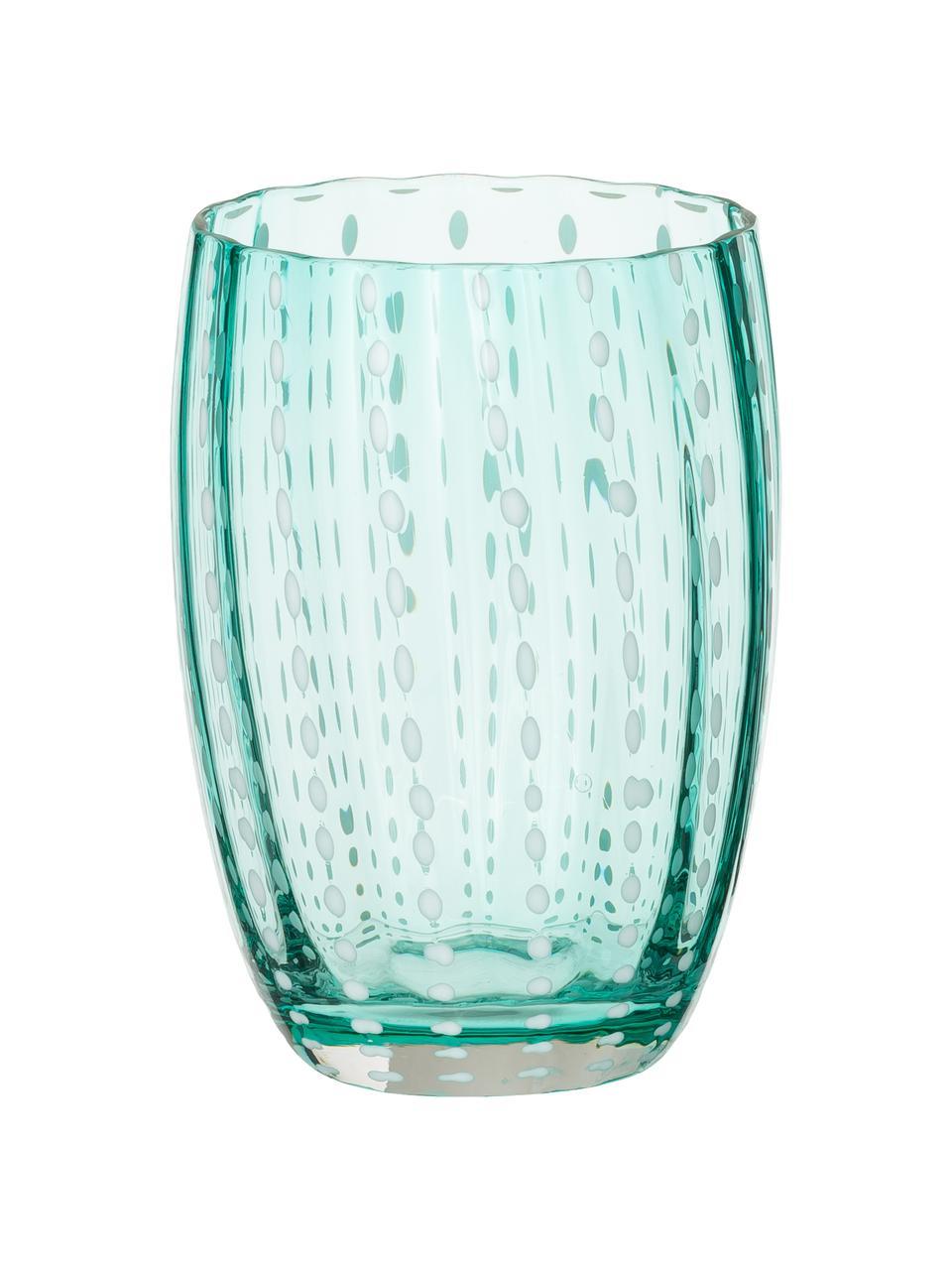 Set 6 bicchieri acqua in vetro soffiato Pearl, Vetro, Trasparente, bianco, acqua, ambra, rosa cipria, rosso o verde, Ø 7 x Alt.11 cm