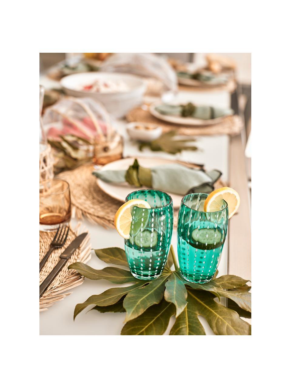 Mundgeblasene Wassergläser Perle in Bunt, 6er-Set, Glas, Transparent, Weiß, Aqua, Bernsteinfarben, Pastellviolett, Rot und Grün, Ø 7 x H 11 cm