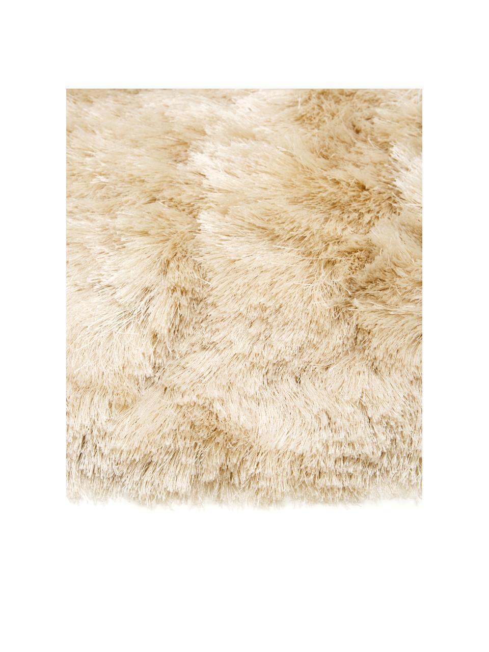 Glänzender Hochflor-Teppich Jimmy in Elfenbein, rund, Flor: 100% Polyester, Elfenbein, Ø 200 cm (Größe L)