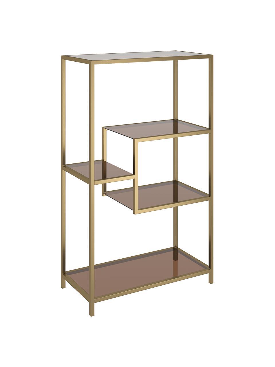 Libreria in metallo ottonato Loft, Struttura: metallo verniciato a polv, Ripiani: vetro temperato colorato, Ottonato, Larg. 60 x Alt. 100 cm