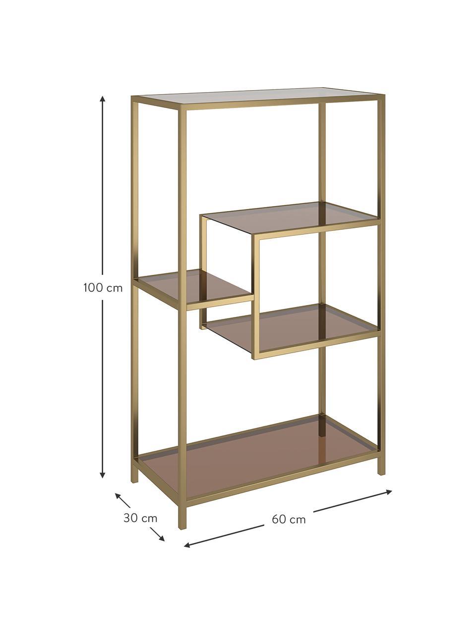 Regał z metalu Loft, Stelaż: metal malowany proszkowo, Odcienie mosiądzu, S 60 x W 100 cm