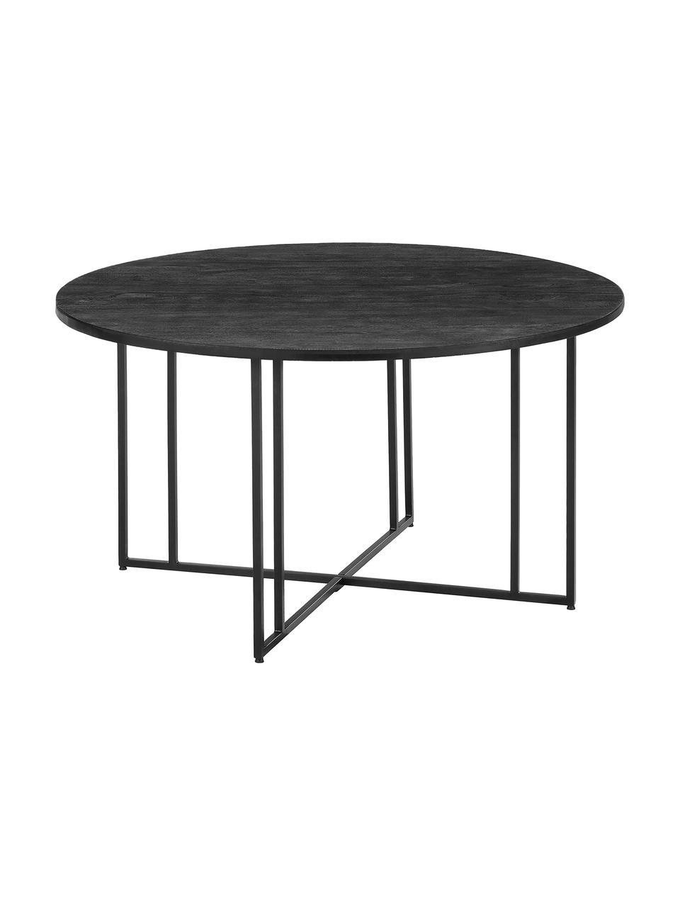 Runder Esstisch mit Massivholzplatte, Tischplatte: Massives Mangoholz, gebür, Gestell: Metall, pulverbeschichtet, Schwarz, Ø 120 x H 75 cm