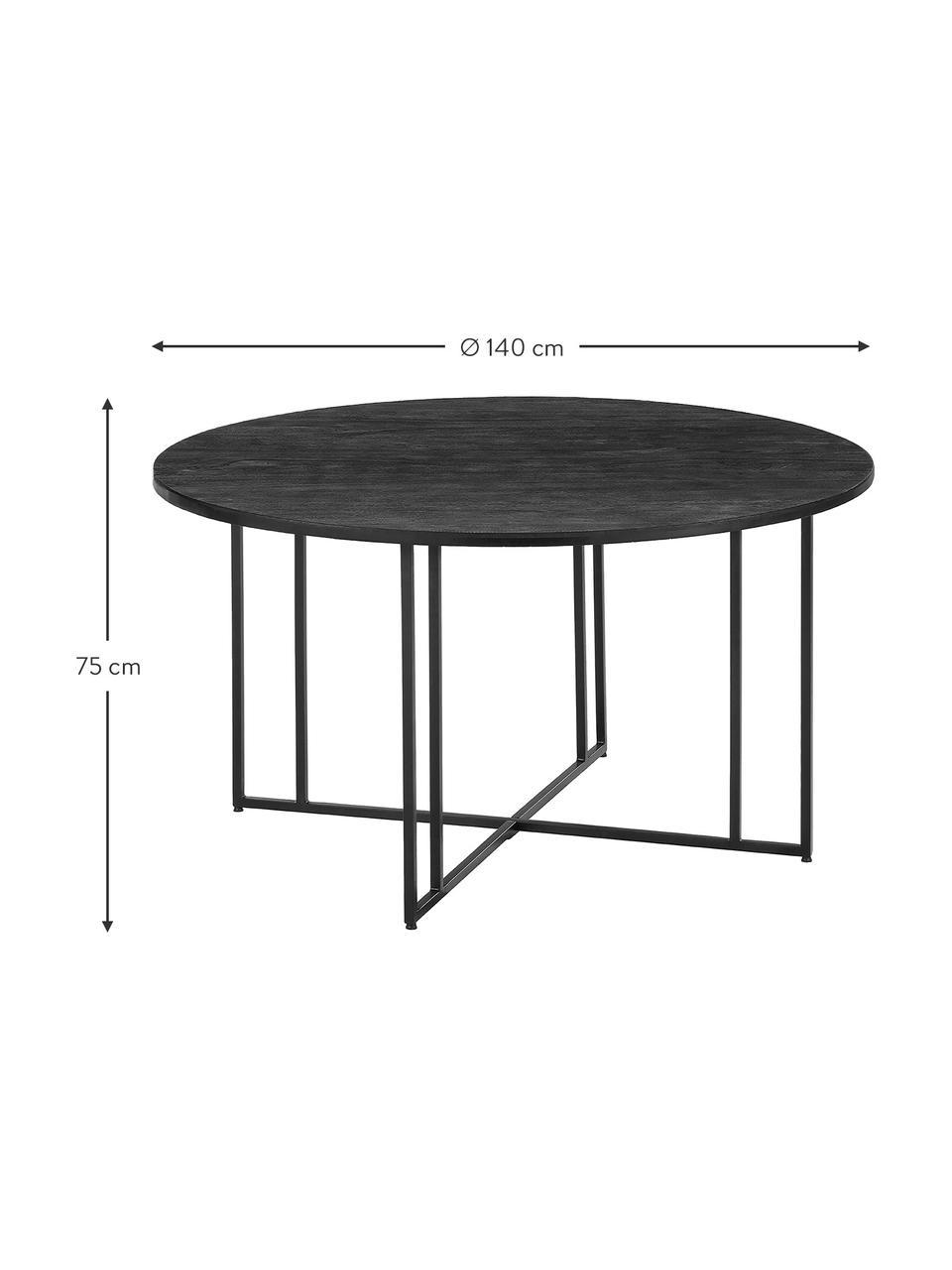 Okrągły stół do jadalni z litego drewna Luca, Blat: lite drewno mangowe, szcz, Stelaż: metal malowany proszkowo, Blat: drewno mangowe, czarny lakierowany Stelaż: czarny, matowy, Ø 120 x W 75 cm