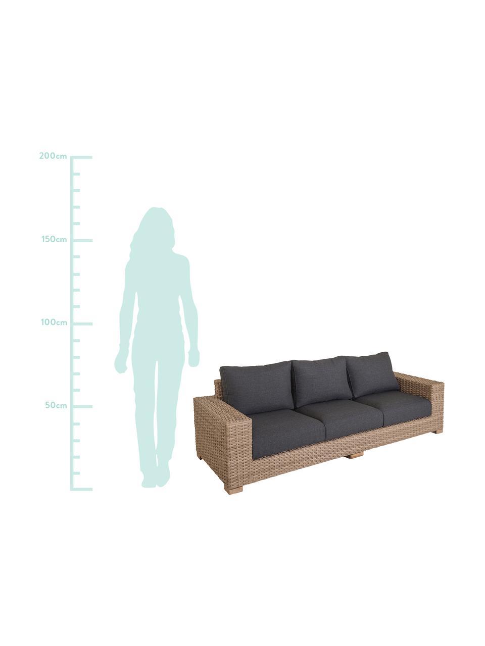 Outdoor zitbank Saba (3-zits), Frame: polyrotan, UV-bestendig, Poten: massief acaciahout, Frame: aluminium, Bekleding: polyester, UV-bestendig e, Bruin, 248 x 74 cm