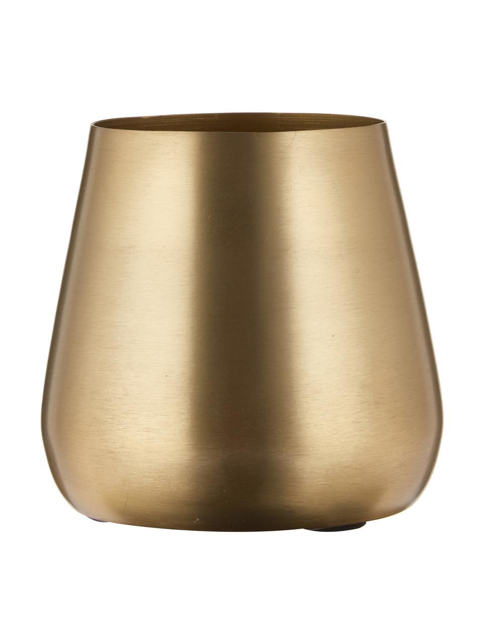 Decoratieve XS vaas Simply van metaal, Gecoat metaal en niet waterdicht, Messingkleurig, Ø 10 x H 9 cm