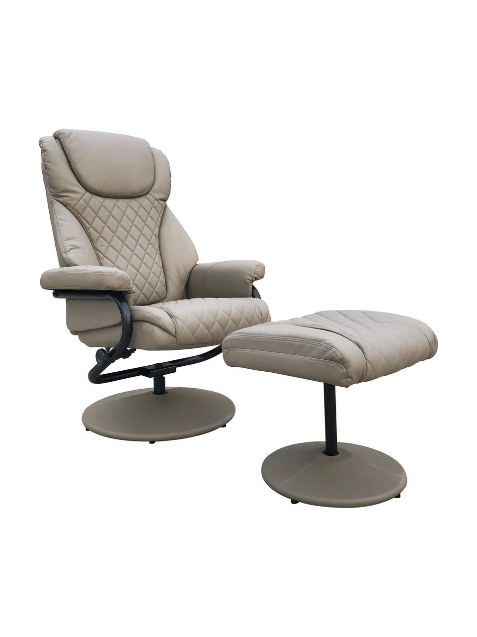Sillón reclinable con reposapiés Relax, Tapizado: piel sintética, Gris, An 80 x Al 112 cm
