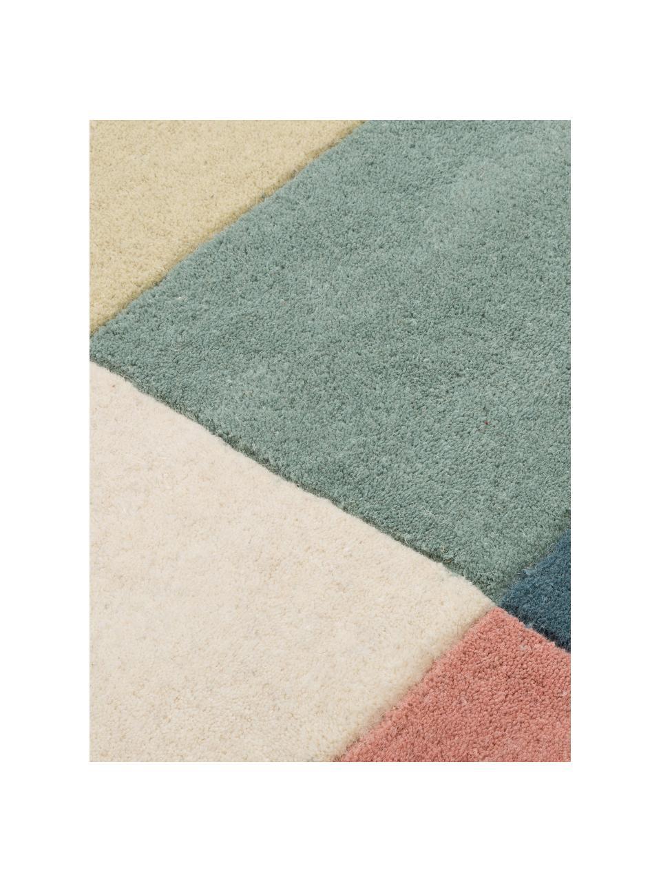 Tappeto di design in lana taftato a mano Ometri, 100% lana Nel caso dei tappeti di lana, le fibre possono staccarsi nelle prime settimane di utilizzo, questo e la formazione di lanugine si riducono con l'uso quotidiano, Multicolore, Larg. 140 x Lung. 200 cm (taglia S)