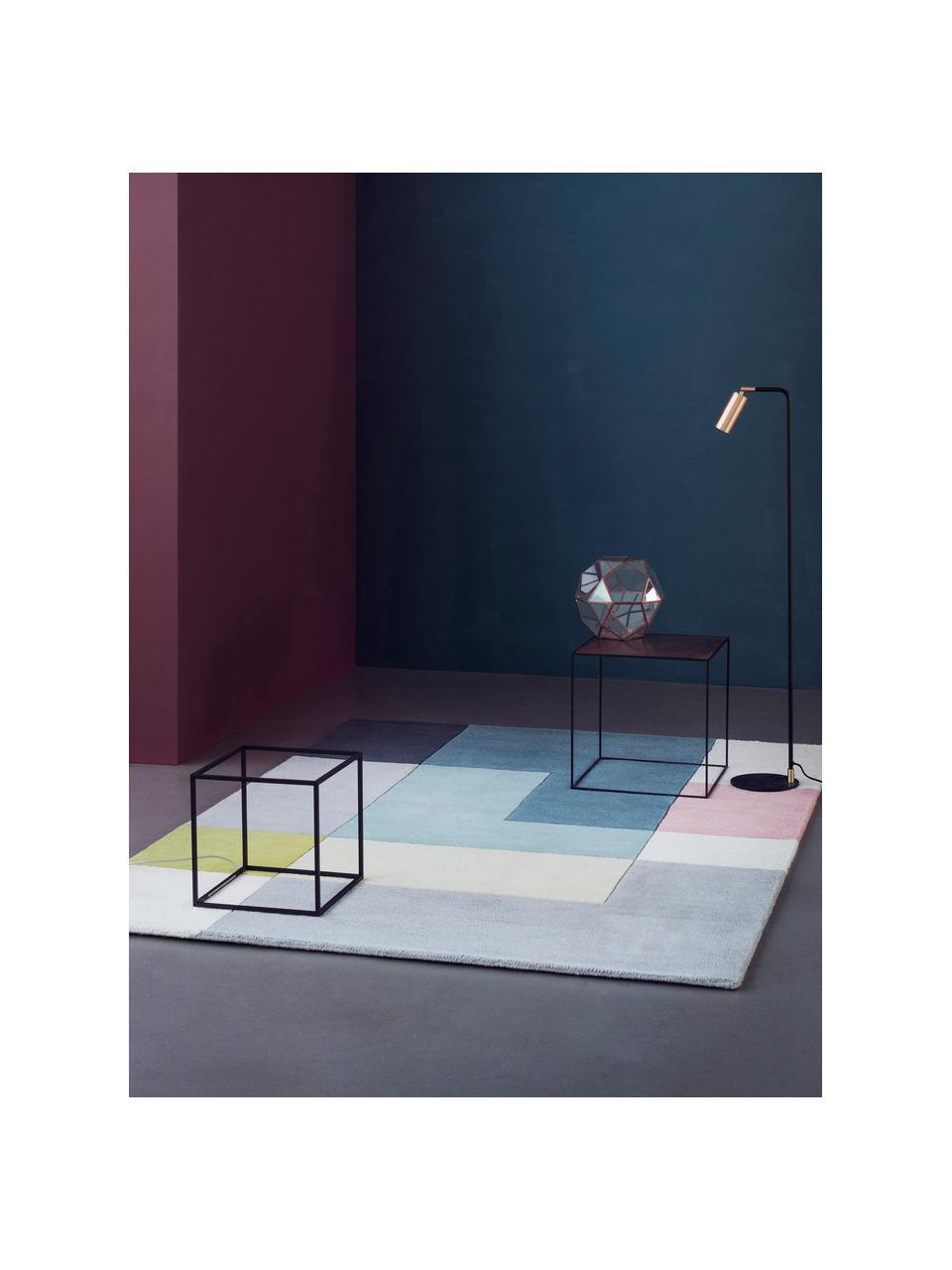Ręcznie tuftowany dywan z wełny Tetris, 100% wełna Włókna dywanów wełnianych mogą nieznacznie rozluźniać się w pierwszych tygodniach użytkowania, co ustępuje po pewnym czasie, Wielobarwny, S 140 x D 200 cm (Rozmiar S)