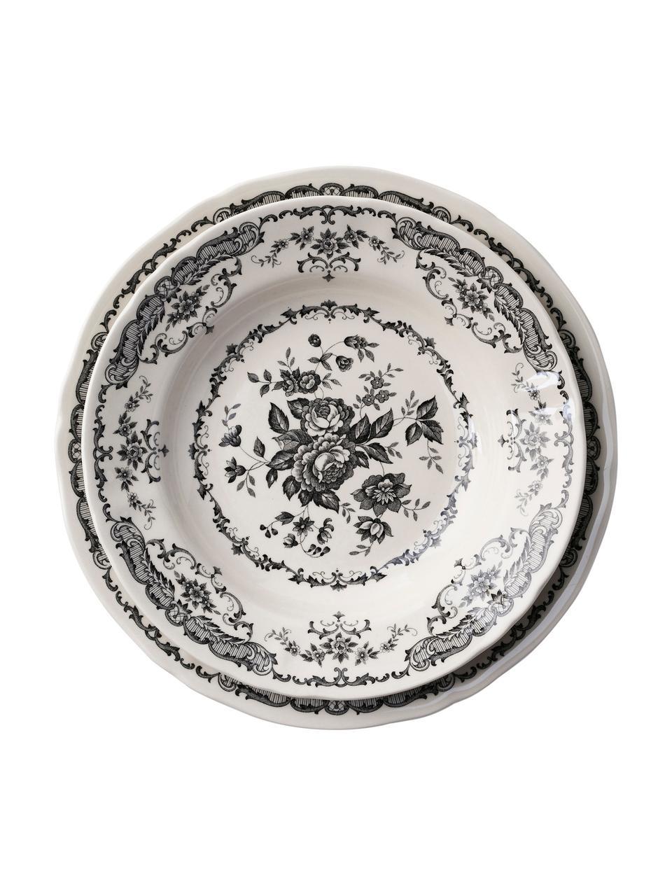 Assiette plate vintage noir Rose, 2pièces, Blanc, noir