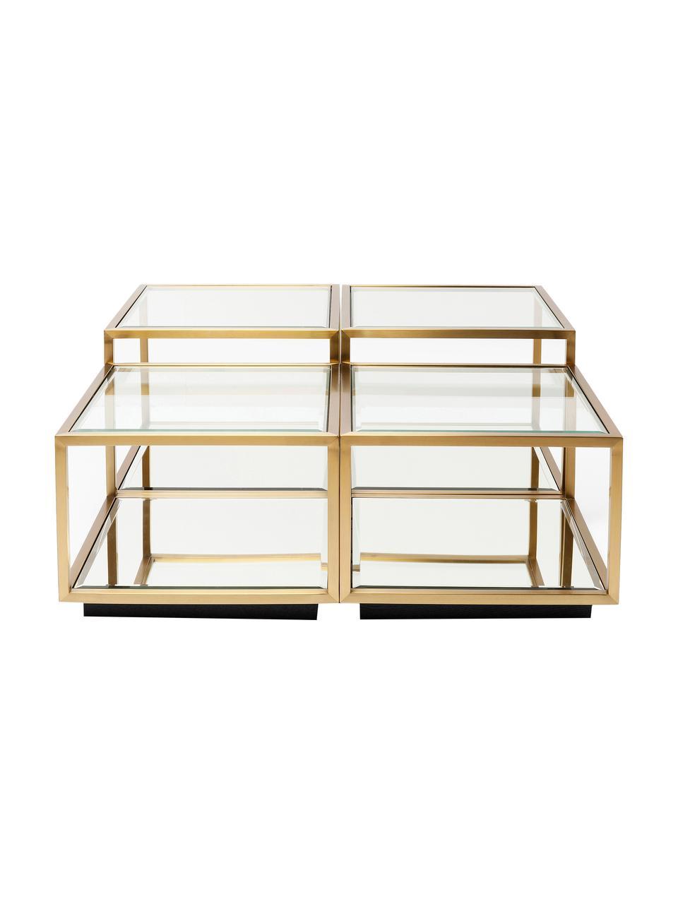 Set 4 tavolini da salotto con piano in vetro Luigi, Struttura: acciaio inossidabile vern, Ripiani: vetro temperato, Piedini: pannello di fibra a media, Dorato, Set in varie misure