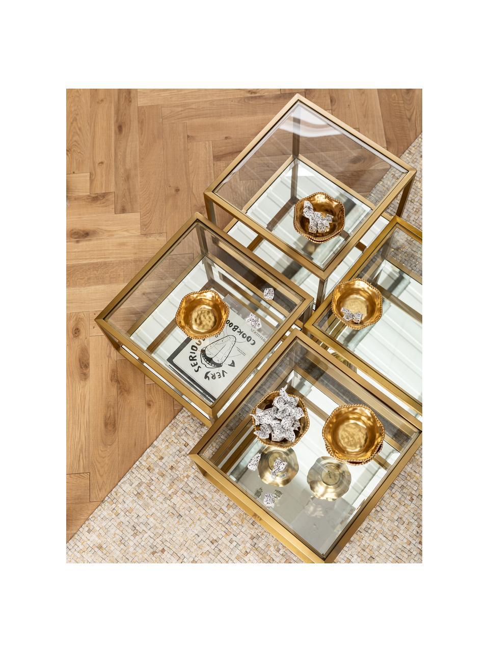 Salontafelset Luigi met onderzijde van spiegelglas, 4-delig, Frame: gelakt edelstaal, Bodem: spiegelglas, Poten: MDF, Goudkleurig, zwart, Set met verschillende formaten