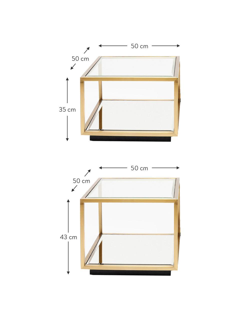 Couchtisch 4er-Set Luigi mit Spiegel-Böden, Gestell: Edelstahl, lackiert, Böden: Spiegelglas, Füße: Mitteldichte Faserplatte,, Goldfarben, Schwarz, Set mit verschiedenen Größen