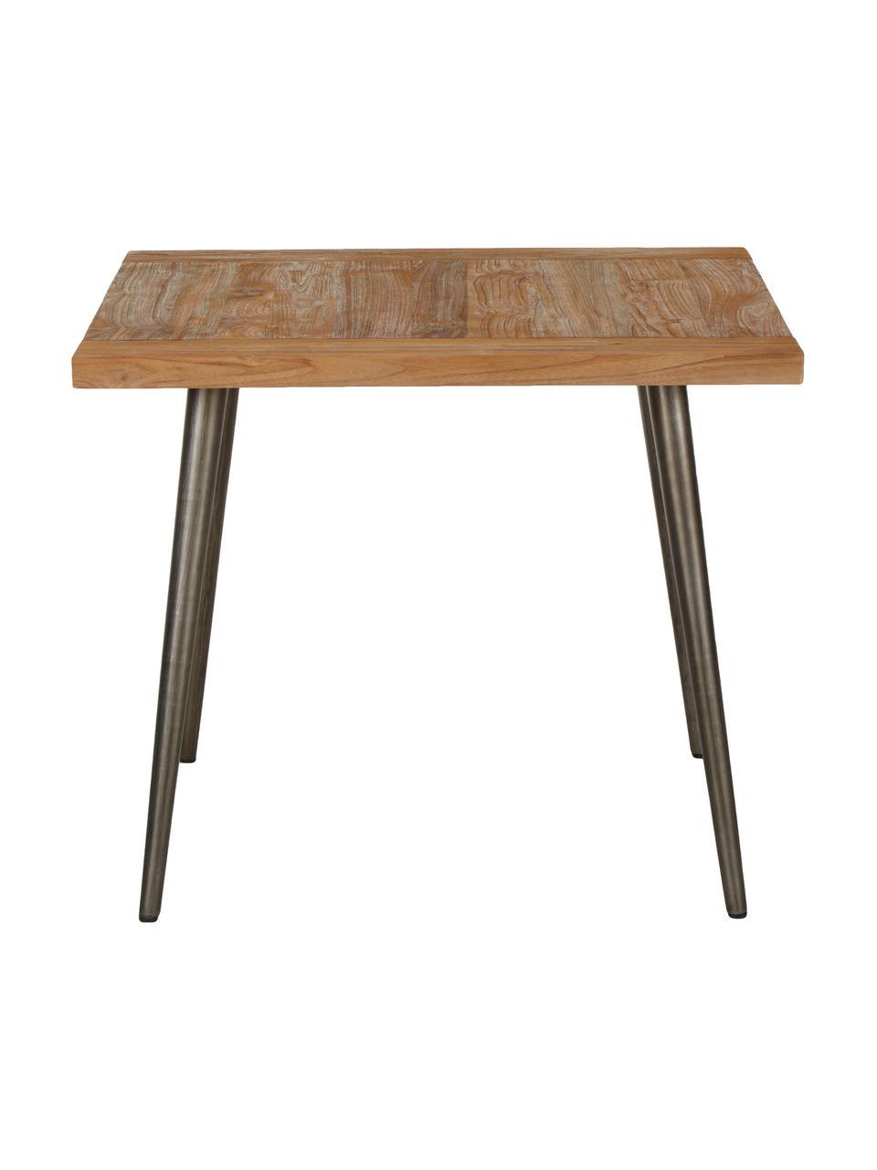 Esstisch Kapal aus recyceltem Teakholz, 90 x 90 cm, Tischplatte: 3.5 cm starkes, recycelte, Beine: Stahl mit gewollten Gebra, Teakholz, B 90 x T 90 cm