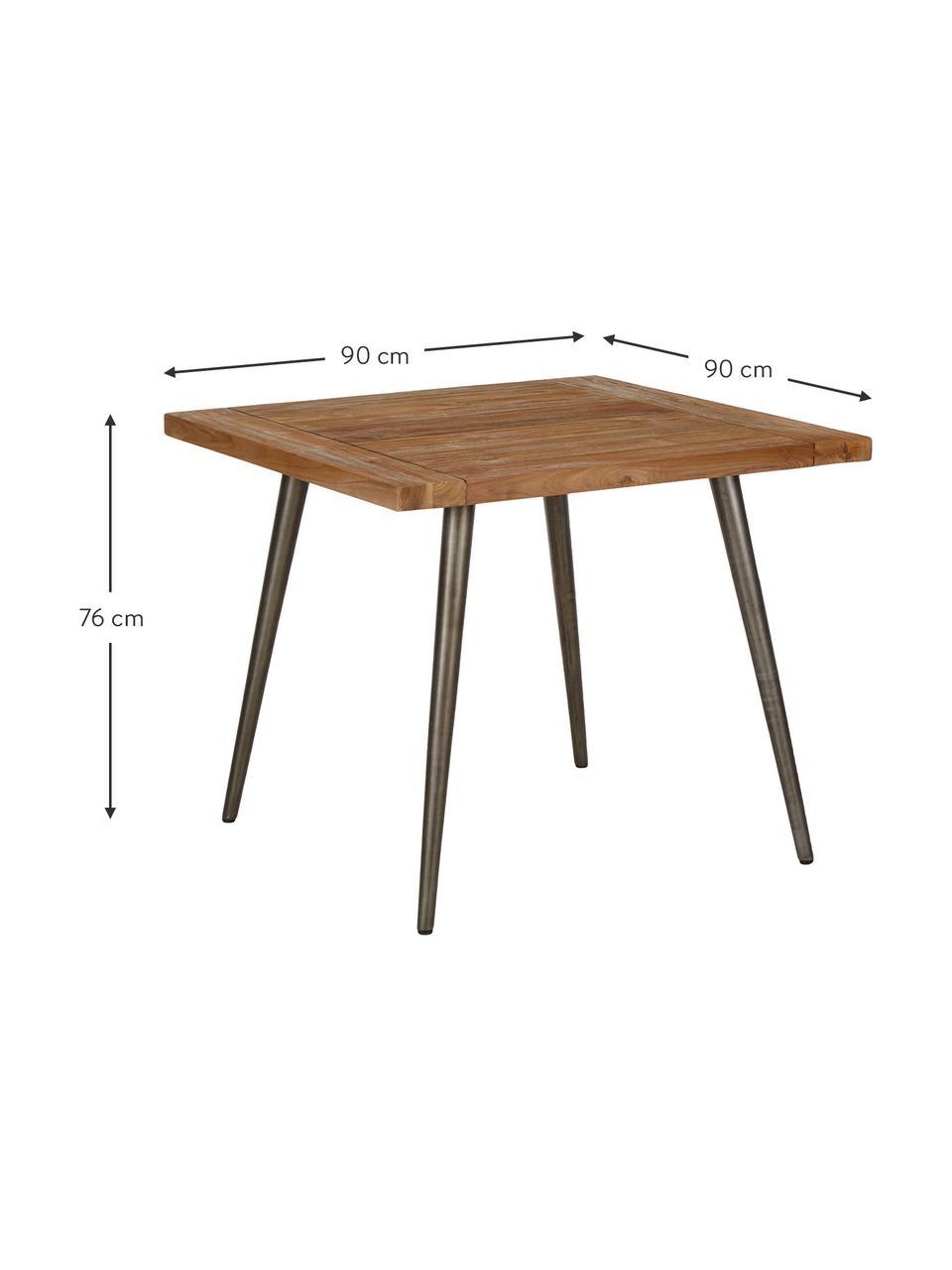 Stół do jadalni z blatem z litego drewna Kapal, Blat: lite drewno tekowe pochod, Nogi: stal z celowymi śladami u, Drewno tekowe, czarny, S 90 x G 90 cm