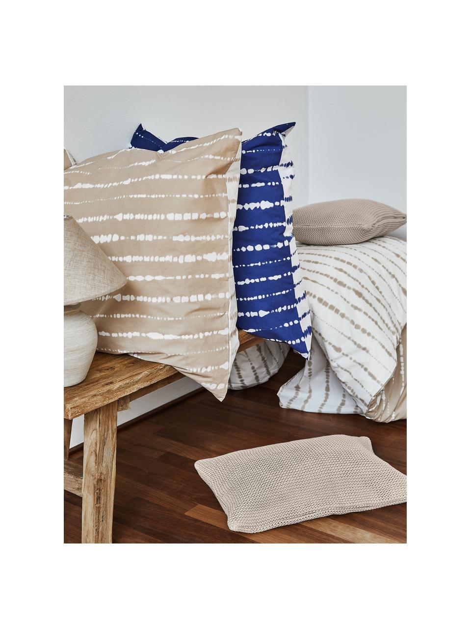 Gebreide kussenhoes Adalyn van biokatoen in beige, 100% biokatoen, GOTS-gecertificeerd, Beige, 50 x 50 cm