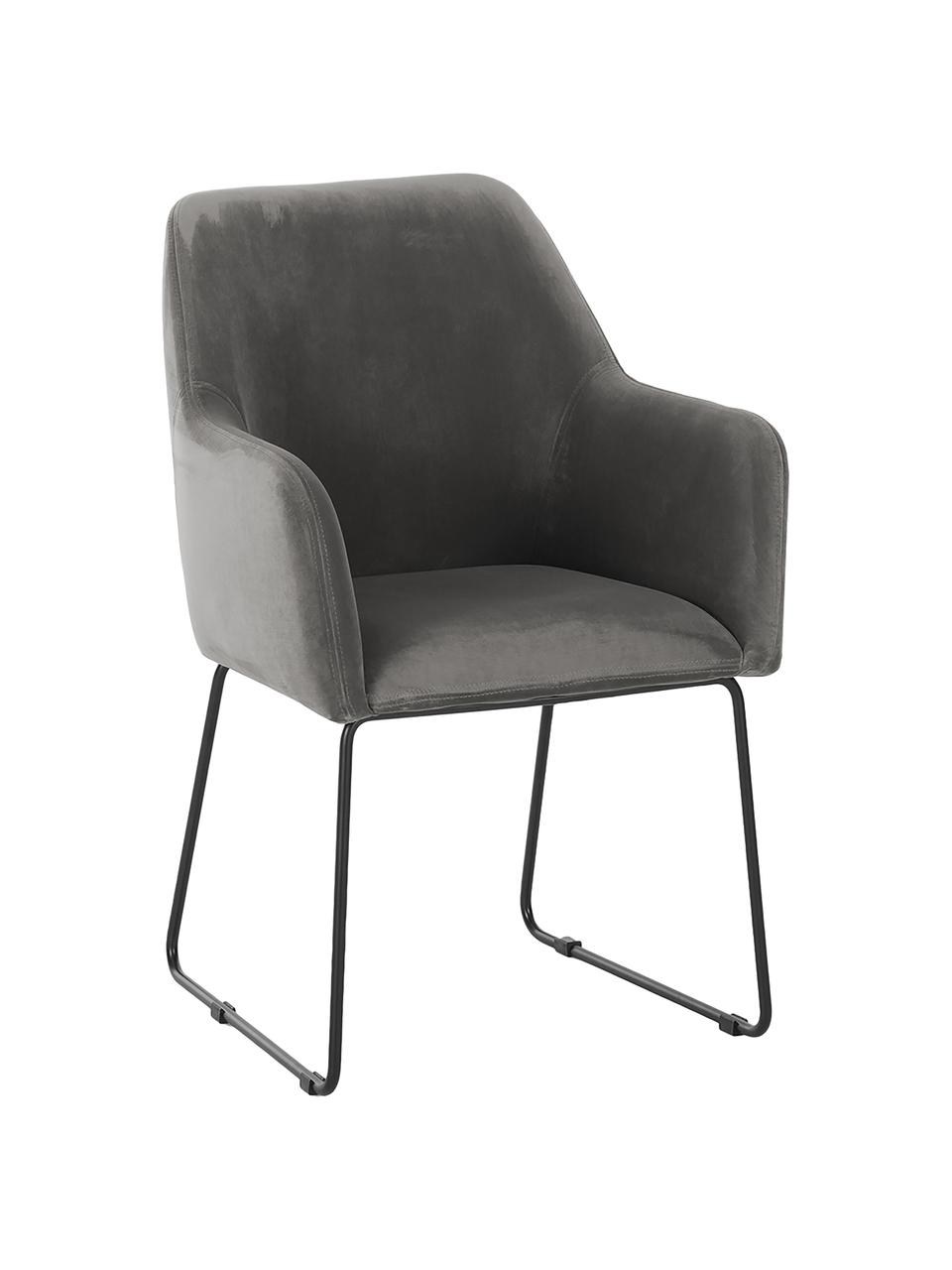 Sedia con braccioli in velluto Isla, Rivestimento: poliestere Con 50.000 cic, Gambe: metallo verniciato a polv, Velluto grigio pietra, gambe nero, Larg. 58 x Prof. 62 cm