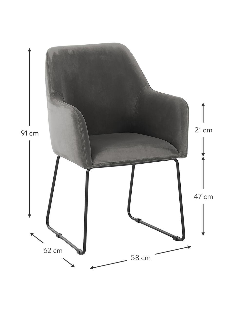 Fluwelen armleunstoel Isla, Bekleding: polyester, Poten: gepoedercoat metaal, Fluweel steengrijs, poten zwart, B 58 x D 62 cm