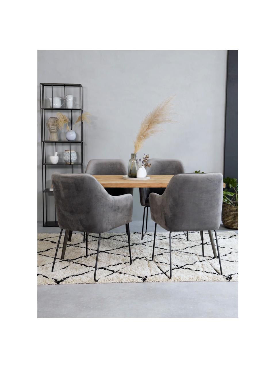 Sametová židle spodručkami Isla, Tmavě šedá Nohy: černá