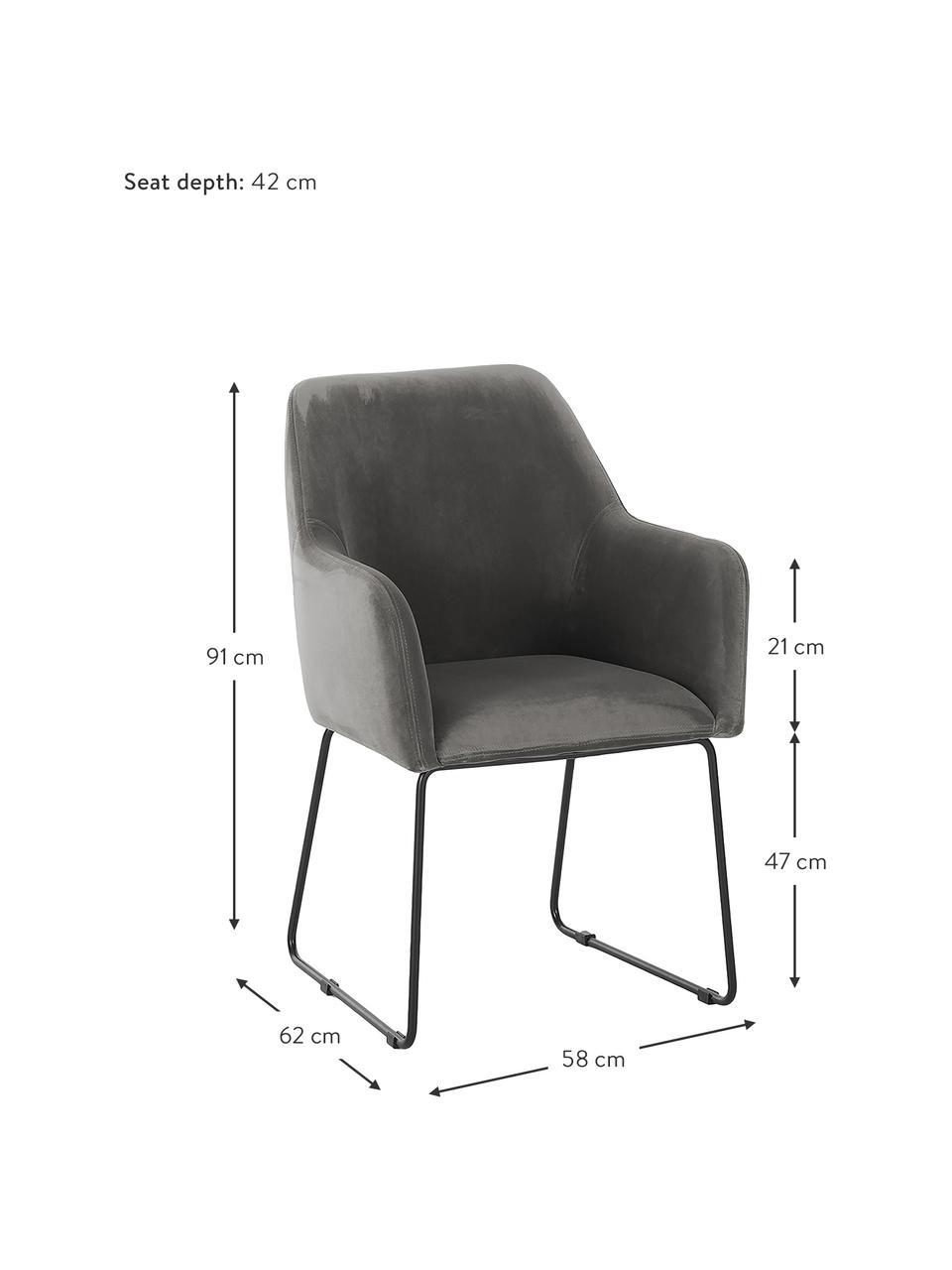 Krzesło z podłokietnikami z aksamitu Isla, Tapicerka: poliester Dzięki tkaninie, Nogi: metal malowany proszkowo, Aksamitny szary kamienny, czarny, S 58 x G 62 cm