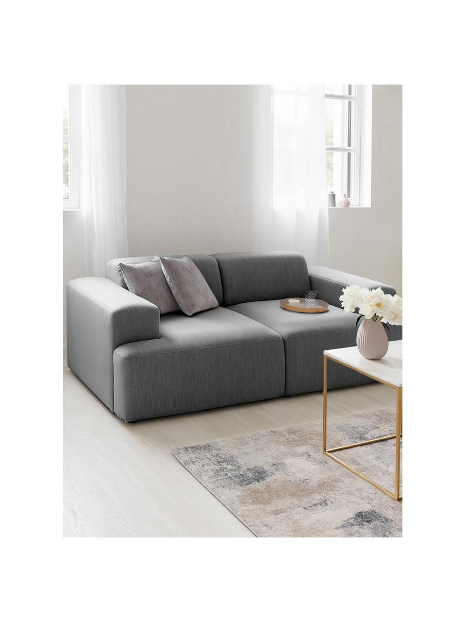 Sofa Melva (2-Sitzer) in Grau, Bezug: 100% Polyester Der hochwe, Gestell: Massives Kiefernholz, FSC, Füße: Kunststoff, Webstoff Grau, B 198 x T 101 cm