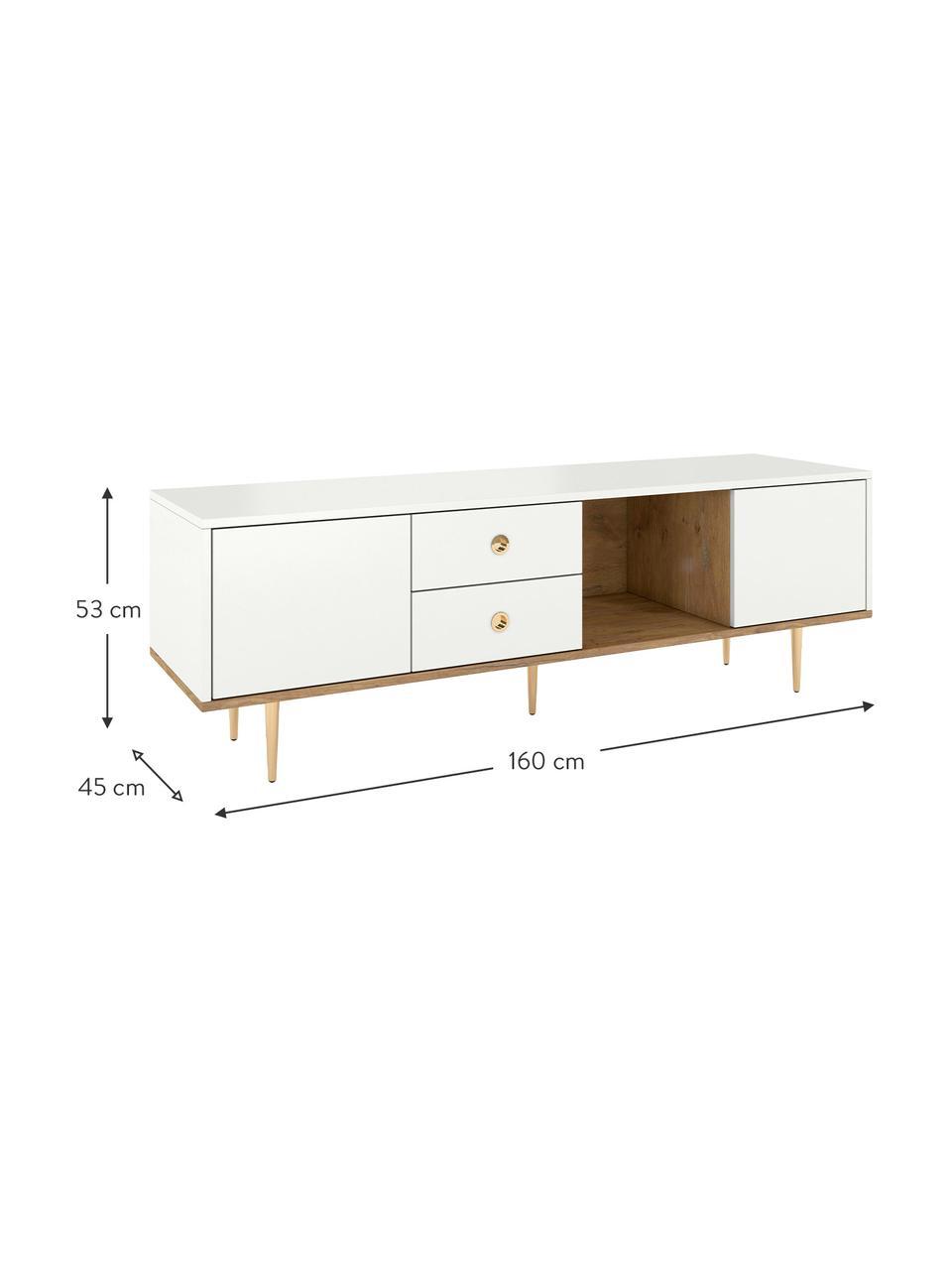 TV-Lowboard Harmoni in Weiß, Korpus: Hochdichte Holzfaserplatt, Weiß, 160 x 53 cm
