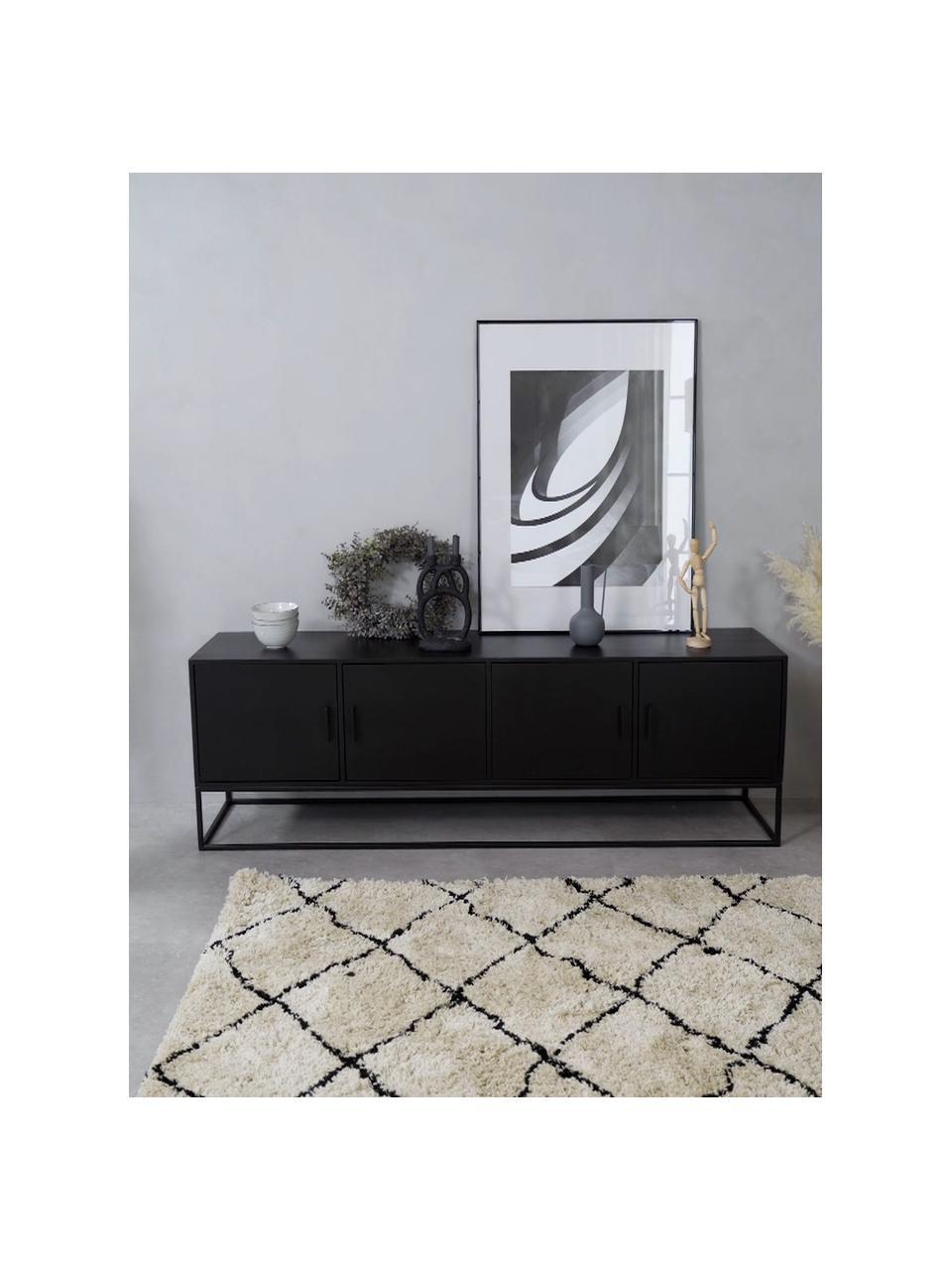 Szafka niska z litego drewna  mangowego z drzwiczkami Lyle, Korpus: lite drewno mangowe, laki, Drewno mangowe, czarny lakierowany, S 180 x D 60 cm