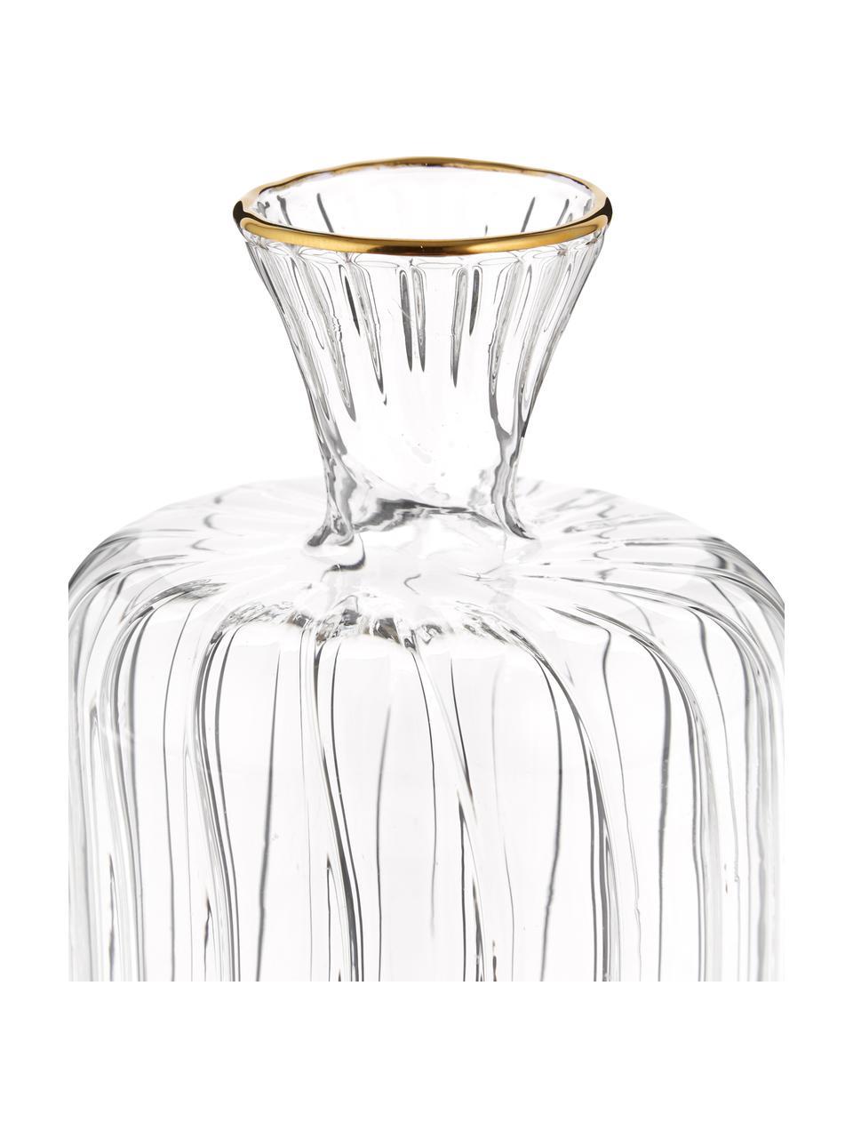 Jarrón pequeño de vidrio Plinn, Vidrio, Transparente, dorado, Ø 7 x Al 10 cm