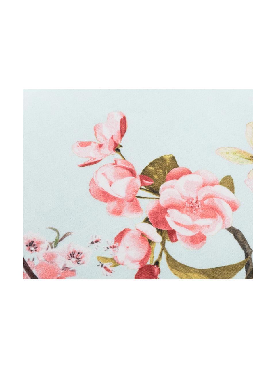 Dubbelzijdig dekbedovertrek Chinoiserie, Katoen, Bovenzijde: licht mintgroen, roze, groen. Onderzijde: wit, 140 x 200 cm