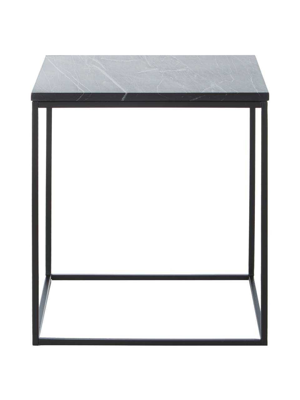Marmeren bijzettafel Alys, Tafelblad: marmer, Frame: gepoedercoat metaal, Tafelblad: zwart graniet. Frame: mat zwart, 45 x 50 cm