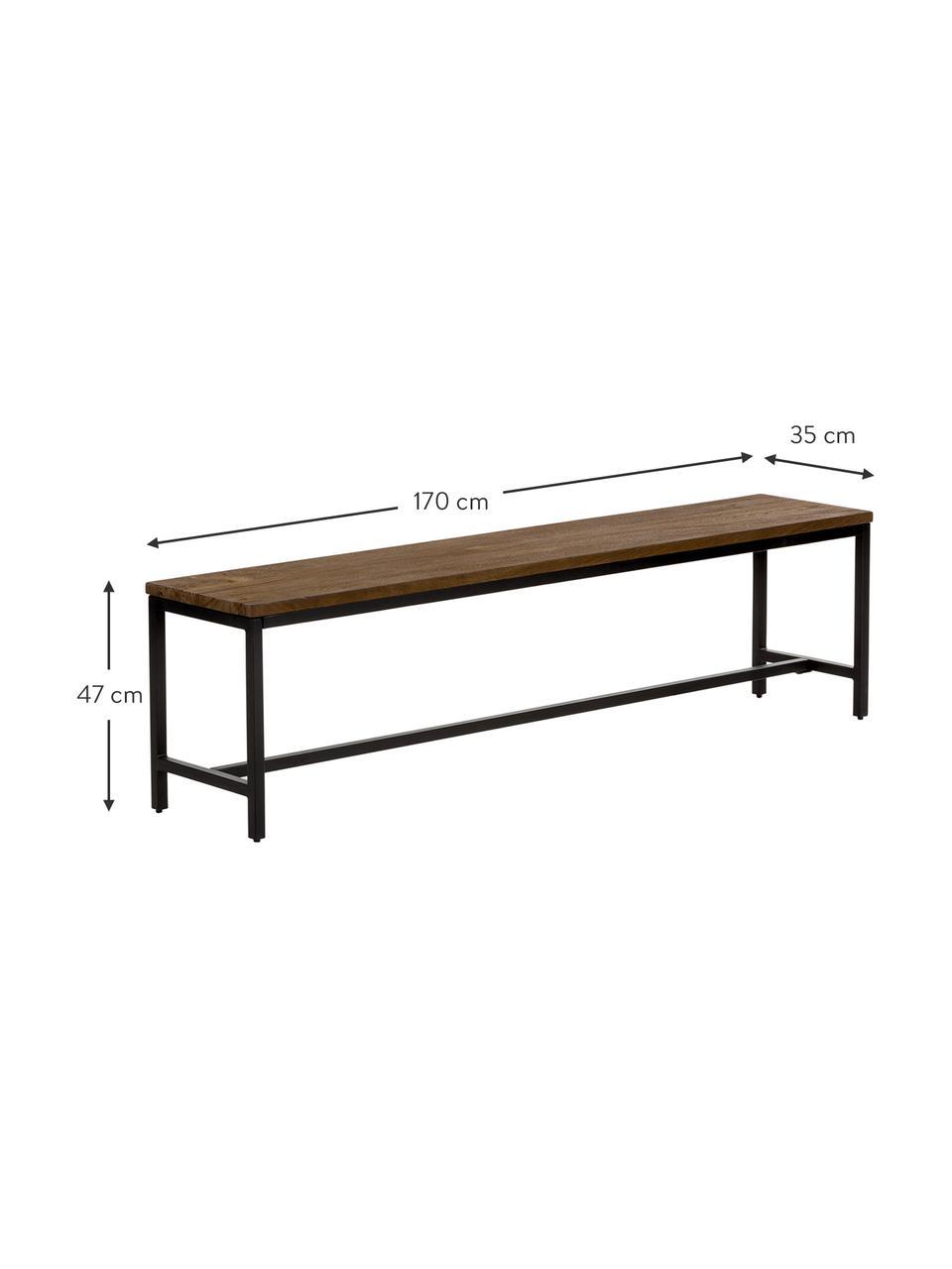 Bank Raw, Zitvlak: massief mangohout, gebors, Frame: gepoedercoat ijzer, Zitvlak: mangohoutkleurig met vintage look. Frame: zwart, 177 x 47 cm