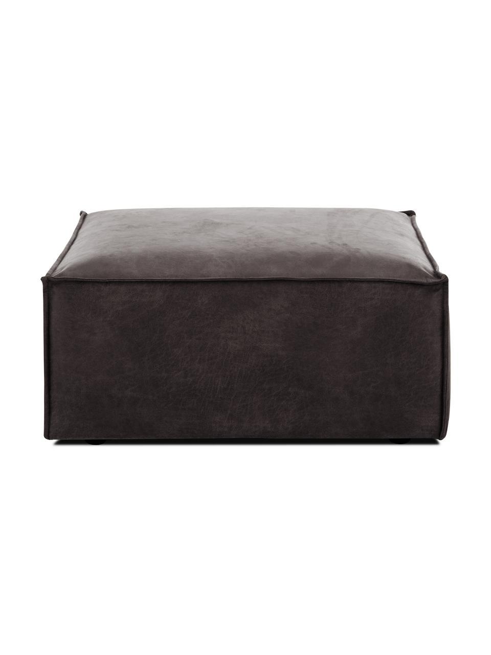 Poggiapiedi da divano in pelle riciclata Lennon, Rivestimento: pelle riciclata (70% pell, Struttura: legno di pino massiccio, , Piedini: plastica I piedini si tro, Pelle grigio-marrone, Larg. 88 x Alt. 43 cm