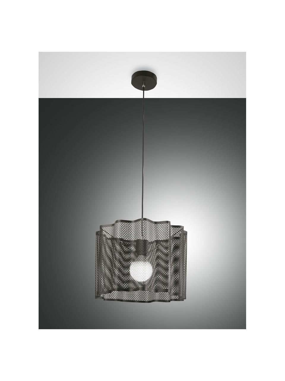 Hanglamp Glicine in zwart, Lampenkap: gecoat metaal, Baldakijn: gecoat metaal, Zwart, Ø 40 x H 28 cm