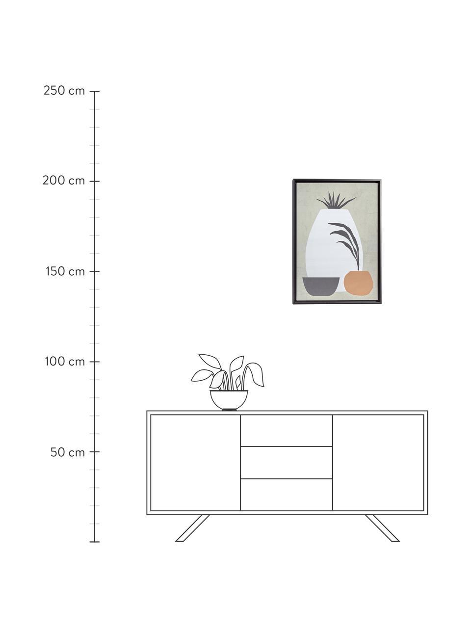 Digitálna tlač s rámom Bianey, Sivá, biela, oranžová, béžová