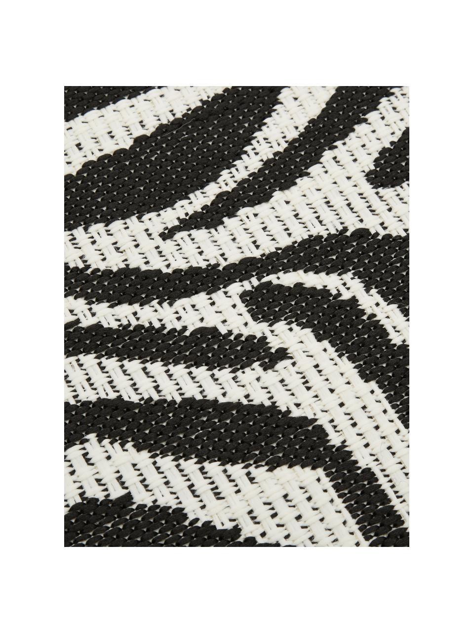 In- & outdoor vloerkleed Exotic met zebra print, 86% polypropyleen, 14% polyester, Crèmewit, zwart, B 120 x L 170 cm (maat S)