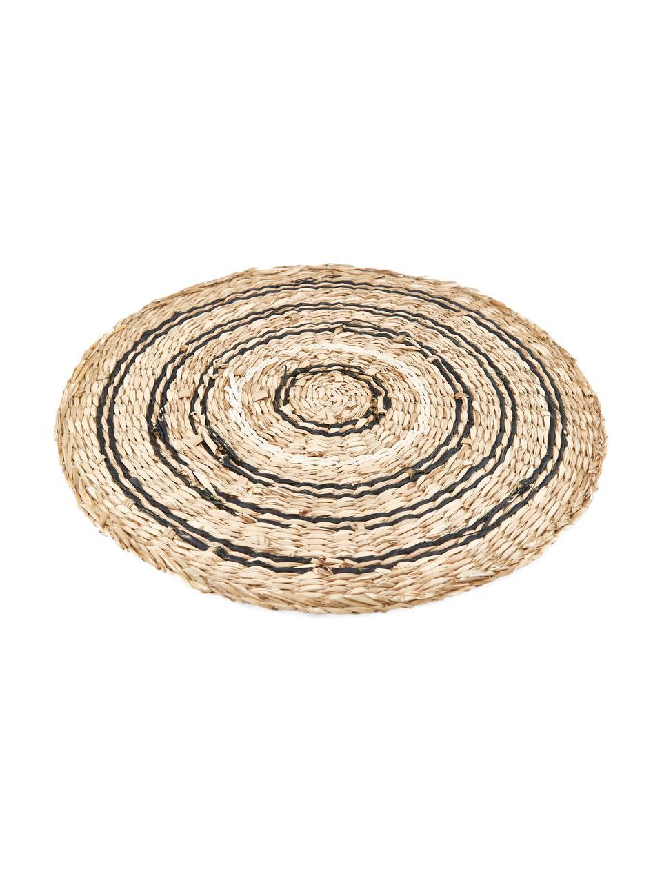 Tovaglietta americana rotonda Kama, Alghe, Beige, bianco, nero, Ø 38 cm