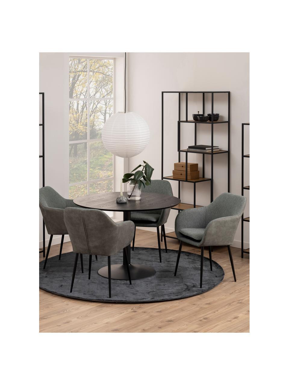 Krzesło z podłokietnikami i metalowymi nogami Emilia, Tapicerka: poliester, Nogi: metal lakierowany, Szary, czarny, S 57 x G 59 cm