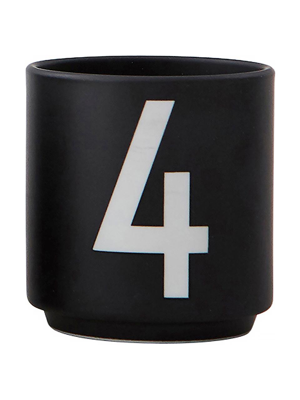 Design Espressobecher 1234 mit Zahlen, 4er-Set, Fine Bone China (Porzellan) Fine Bone China ist ein Weichporzellan, das sich besonders durch seinen strahlenden, durchscheinenden Glanz auszeichnet., Schwarz, Weiß, Ø 5 x H 6 cm