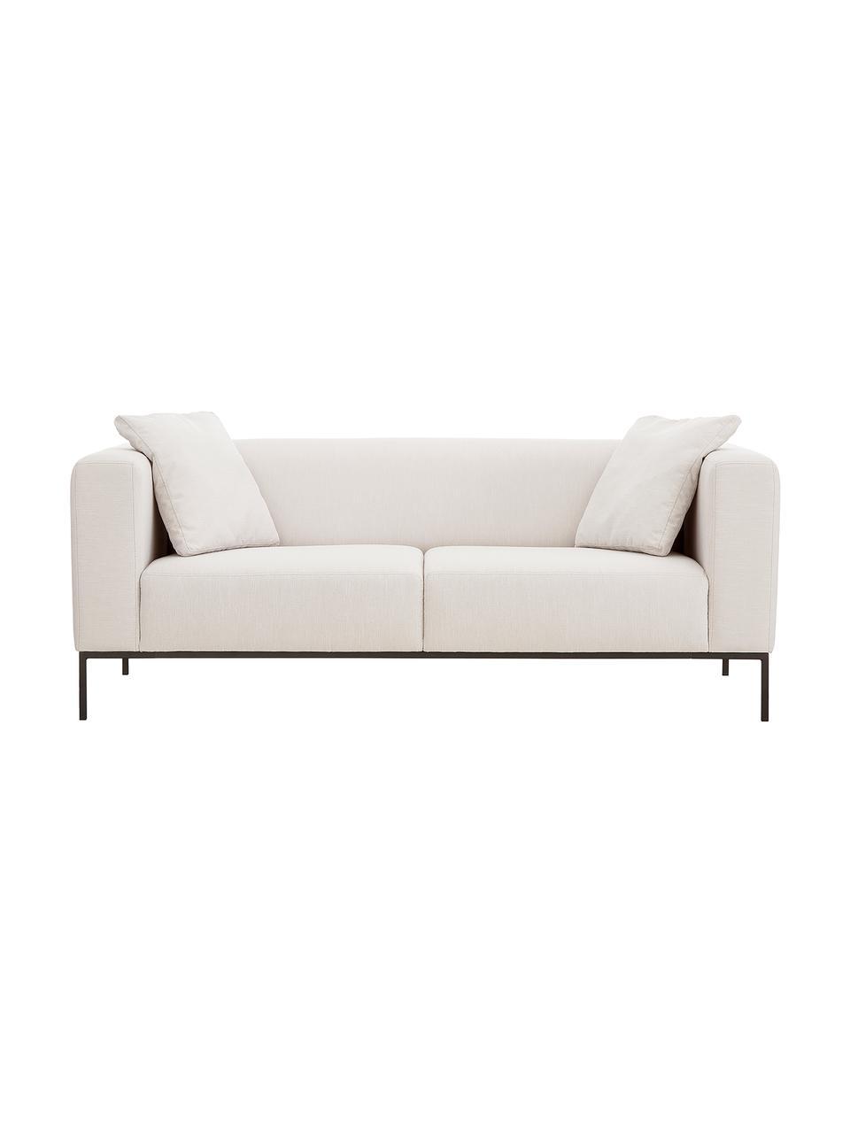 Sofa Carrie (3-Sitzer) in Beige mit Metall-Füßen, Bezug: Polyester 50.000 Scheuert, Gestell: Spanholz, Hartfaserplatte, Füße: Metall, lackiert, Webstoff Beige, B 202 x T 86 cm
